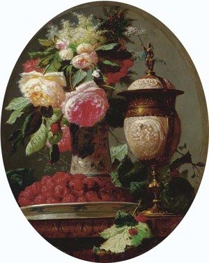 Still Life of Flowers with Raspberries and an Urn on a Table in a painted Oval