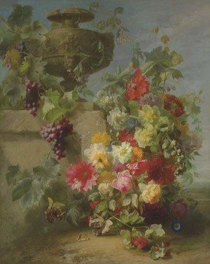 Still Life of Roses, Morning Glories, Chrysanthemums, Forget-me-nots, Grapes and Raspberries by a decorative stone Urn on a Ledge in a Landscape