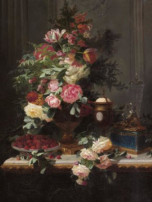 Still Life with Roses and Wild Strawberries