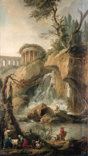 Reproduction oil paintings - Jean-Baptiste-Marie Pierre - A view of the Falls of Tivoli with a peasant milking a goat, a traveller on a mule with a dog and  fishermen on a rock