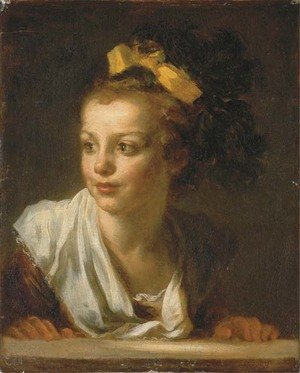 Reproduction oil paintings - Jean-Honore Fragonard - A young girl leaning on a window ledge