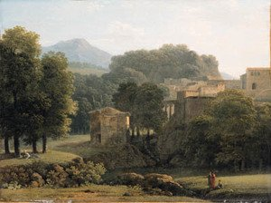 Reproduction oil paintings - Jean-Victor Bertin - A wooded classical Landscape with Figures by a Brook, a town beyond