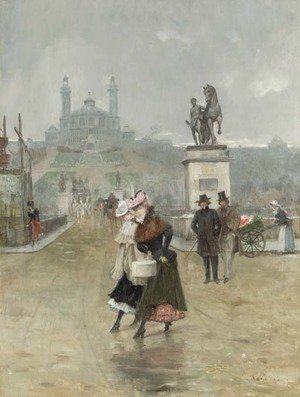 Reproduction oil paintings - Joaquin Pallares y Allustante - Ladies crossing the Street