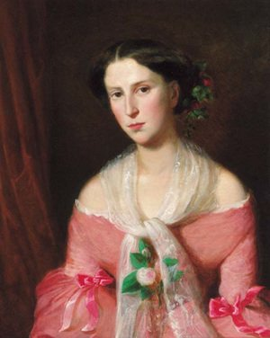 Rudolf Koller reproductions - Portrait of a young lady, three-quarter-length, in a pink dress and a lace shawl