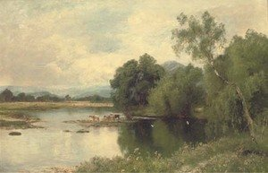 John Clayton Adams reproductions - Cattle watering by a tranquil river