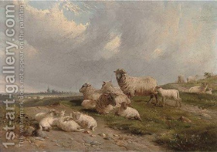Sheep and lambs on a hillside by J. Duvall - Reproduction Oil Painting