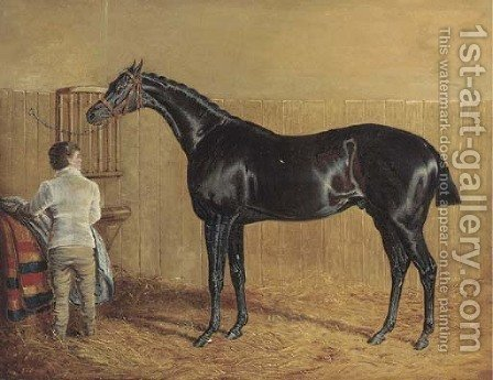 A racehorse in a stable with a groom by John Frederick Herring Snr - Reproduction Oil Painting