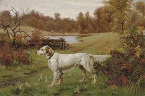 A Marbled Beauty - An English Setter in a landscape, a lake beyond