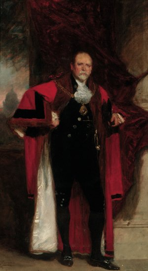 Reproduction oil paintings - John Seymour Lucas - Portrait of Mr. Alderman, full-length, wearing a dress of the Ex-Sheriff Roll