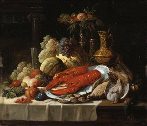 Reproduction oil paintings - John Seymour Lucas - Still Life with lobster, oysters, fruit and fowl on a draped table.