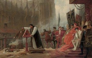 Reproduction oil paintings - John Seymour Lucas - The burning of Martin Luther's works
