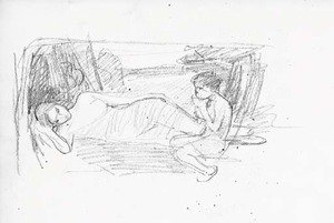 Reproduction oil paintings - Waterhouse - Sketches including a study for 'Narcissus'