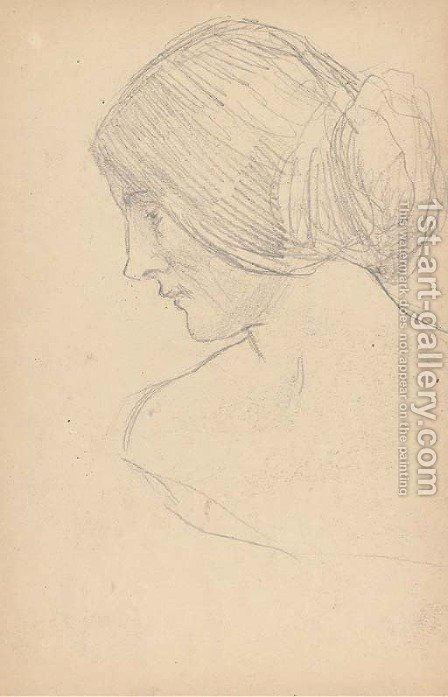 Study of a woman, bust-length, turned to the left by (after) Cortona, Pietro da (Berrettini) - Reproduction Oil Painting
