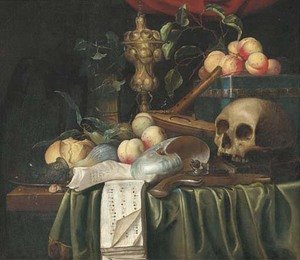 A vanitas still-life with a skull, a pistol, a lute with broken strings, a flute, shells, peaches, figs, bread and an urn on a partly draped ledge