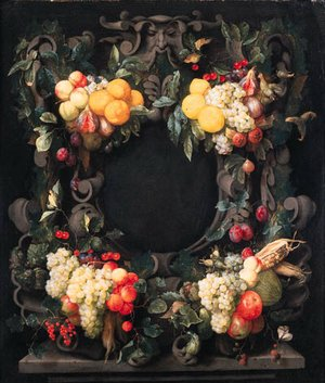 Clusters of oranges, lemons, pears, grapes, figs and other fruit, corncobs and nuts decorating a stone cartouche