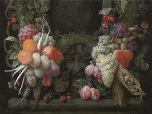 Grapes, gooseberries, blackberries, figs, oranges, plums, radishes, asparagus, maize, cherries and other fruits surrounding a stone cartouche