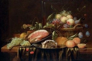 Ham and a sweetmeat pie on pewter plates, peaches, grapes, figs and plums in a basket, a bread roll, oranges, a sprig of cherries, a bunch of grapes