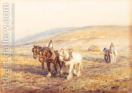 Ploughing the Fields by Harold Swanwick - Reproduction Oil Painting
