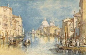 Famous paintings of Ships & Boats: The Grand Canal, Venice, with gondolas and figures in the foreground