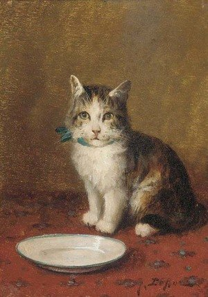 Famous paintings of Dairy & Milk: A cat with a bowl of milk