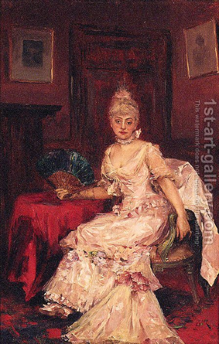 A Lady With A Fan by J. Stewart - Reproduction Oil Painting