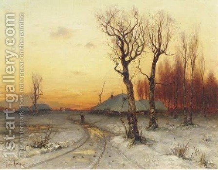 Winter snowcovered farms at dusk by Iulii Iul'evich (Julius) Klever - Reproduction Oil Painting