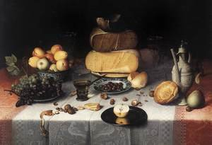 Famous paintings of Glasses: Still Life With CheesesStill-Life with Cheeses c. 1615