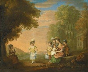 Katherine Read reproductions - A lady and her children by a cottage in a landscape