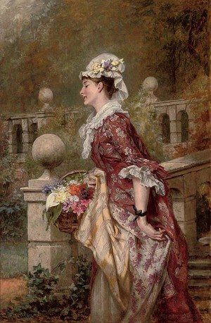 Reproduction oil paintings - Laslett John Pott - Flowers for my lady