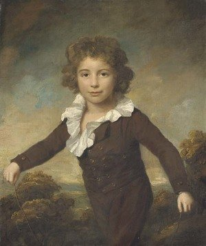 Reproduction oil paintings - Lemuel-Francis Abbott - Portrait of a young boy, three-quarter length, in a brown coat and breeches, holding a skipping rope, in a wooded landscape