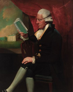 Reproduction oil paintings - Lemuel-Francis Abbott - Portrait of Edward Cotsford, seated three-quarter-length, in a dark brown jacket and breeches, holding a book by a window