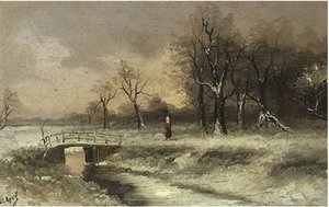 A figure walking beside a stream, in a snowy landscape