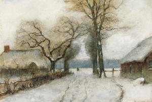 A snow-covered country lane
