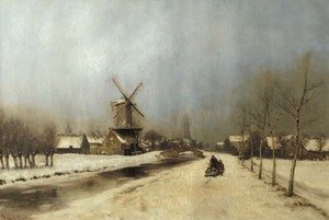 A view of the outskirts of Delft in winter