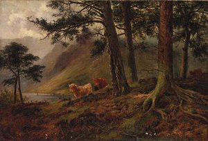 Highland Cattle In A Loch Landscape