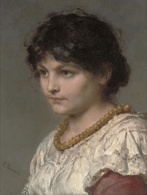 Reproduction oil paintings - Ludwig Knaus - A girl in an amber necklace