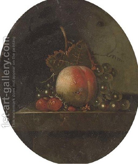 A peach, grapes on the vine, strawberries and blueberries on a stone ledge by Adriaen Coorte - Reproduction Oil Painting