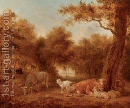 A wooded landscape with cattle and sheep resting, figures nearby by (after) Adriaen Van De Velde - Reproduction Oil Painting
