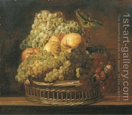 Grapes, apples, a peach and a lemon in a wicker basket on a wooden ledge by (after) Adriaen Van Utrecht - Reproduction Oil Painting