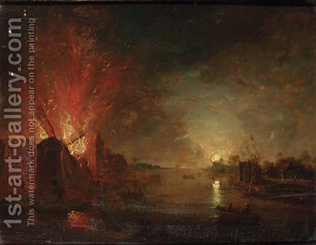 A mill on fire on a riverbank, by moonlight by (after) Aert Van Der Neer - Reproduction Oil Painting