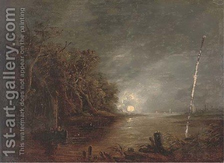 A moonlit river landscape; and The Madonna with male saints by (after) Aert Van Der Neer - Reproduction Oil Painting