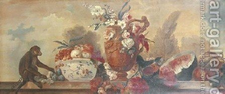 Flowers in an ornamental vase, fruit in a porcelain bowl, a watermelon, pumpkin and a pomenagranate with a monkey on a balustrade by (after) Alexandre-Francois Desportes - Reproduction Oil Painting