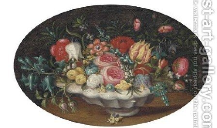 Tulips, roses, morning glory and other flowers in a bowl on a table by Ambrosius The Younger Bosschaert - Reproduction Oil Painting