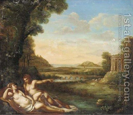 A classical landscape with nymphs reclining by a wood by (after) Annibale Carracci - Reproduction Oil Painting