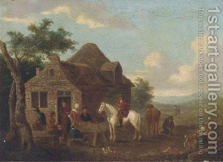 Travellers at halt by a cottage by (after) Barent Gael - Reproduction Oil Painting