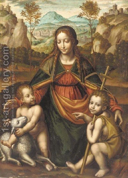 The Madonna and Child with the Infant Saint John the Baptist 2 by (after) Bernardino Luini - Reproduction Oil Painting