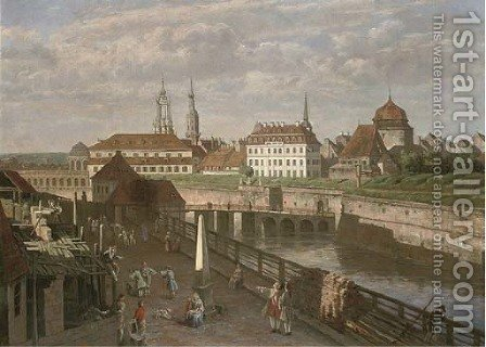 Figures by the river Elbe, Dresden by (after) Bernardo Bellotto (Canaletto) - Reproduction Oil Painting