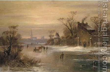 Skaters and a horse-drawn sledge on a frozen river by (after) Charles Henri Joseph Leickert - Reproduction Oil Painting