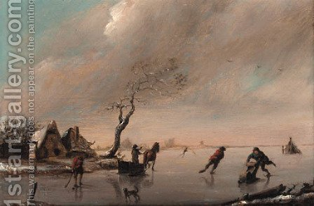 Figures on a frozen lake by (after) Claes Molenaar (see Molenaer) - Reproduction Oil Painting