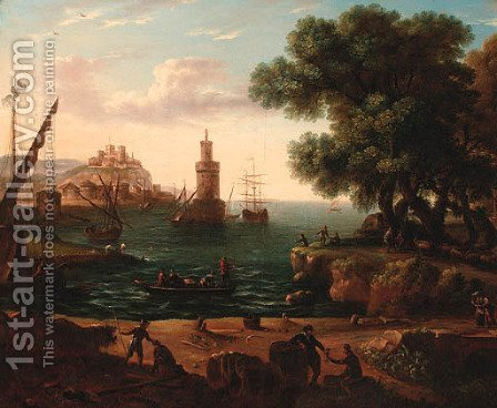 A coastal inlet with moored shipping and stevedores on a bank by (after) Claude Lorraine R.W Nursey - Reproduction Oil Painting